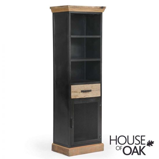 Cosgrove Tall 1 Drawer Reclaimed Wood & Metal Cabinet With Mesh Doors
