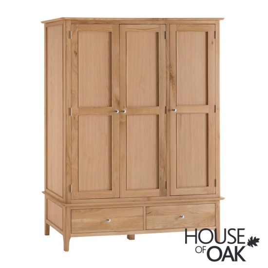 Oslo Oak Large 3 Door 2 Drawer Wardrobe