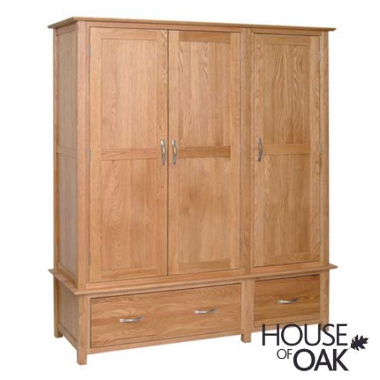 Coniston Oak Triple Wardrobe with Drawers