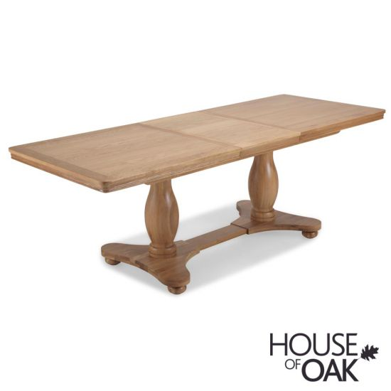 Toulouse Twin Pedestal Extending Dining Table in Natural Oak