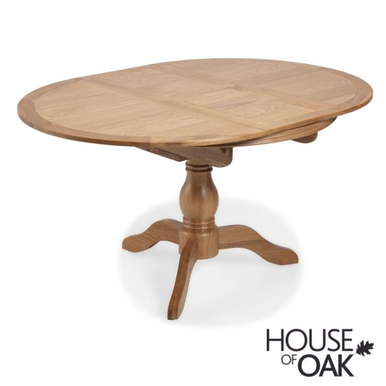 Toulouse Pedestal Round Extending Dining Table in Natural Oak