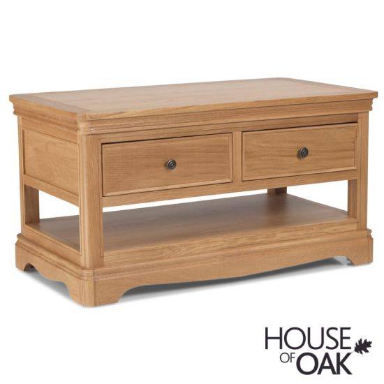 Toulouse Coffee Table with 2 Drawers in Natural Oak