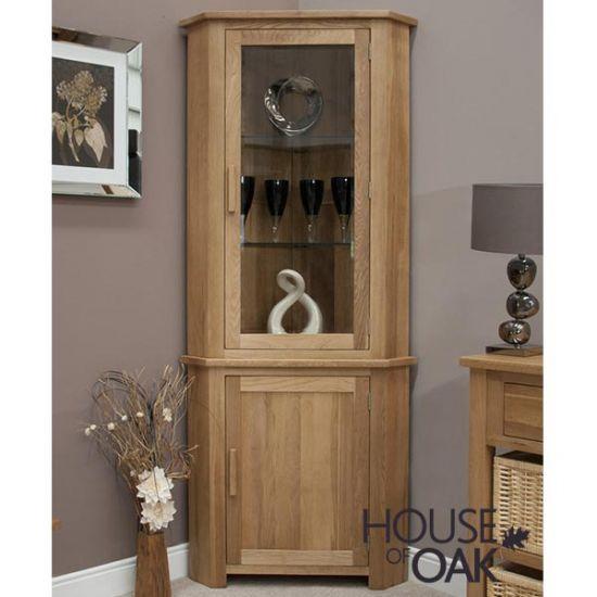 Opus Solid Oak Corner Display Cabinet