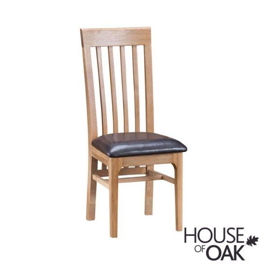 Oslo Oak Slat Back Chair with PU Seat
