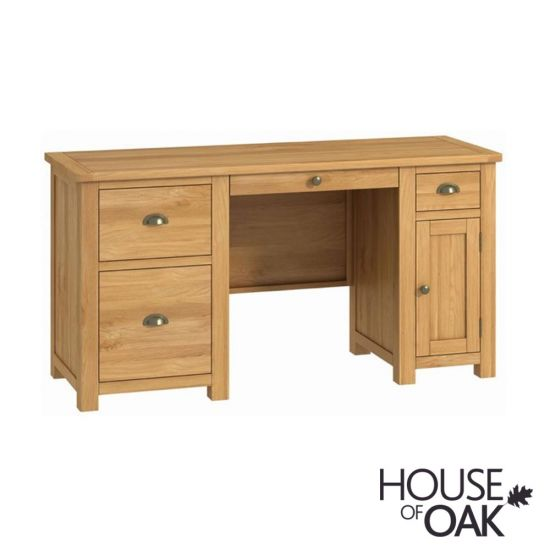 Portman Office Twin Pedestal Desk in Oak