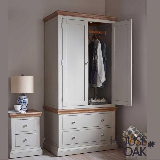 Porto Light Grey 2 Drawer Wardrobe