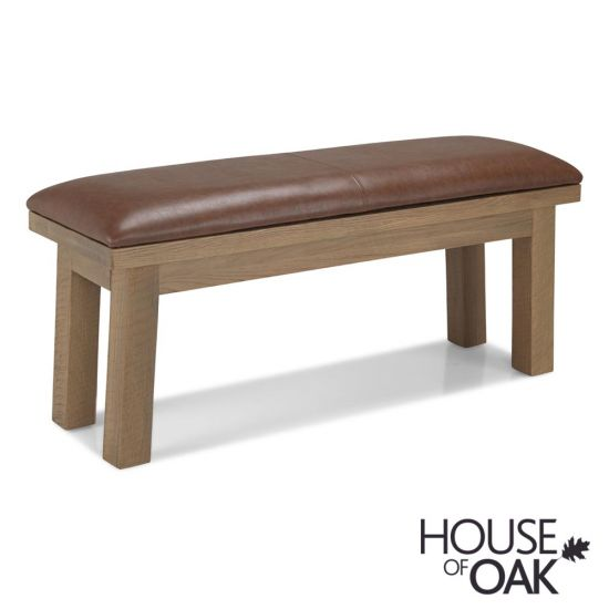 Windermere Rough Sawn Oak Bench with Removable Seat Cushion