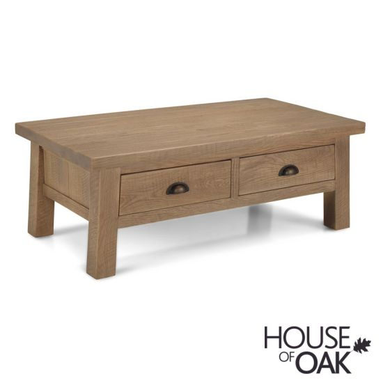 Windermere Rough Sawn Oak Coffee Table with Drawers