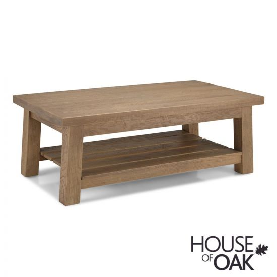 Windermere Rough Sawn Oak Large Coffee Table with Shelf