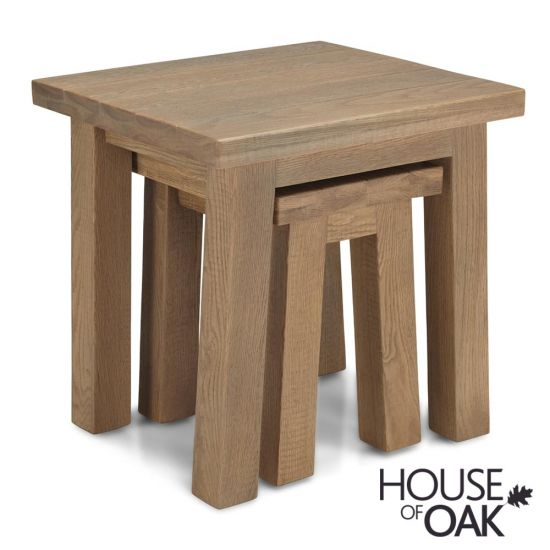 Windermere Rough Sawn Oak Nest of 2 Tables