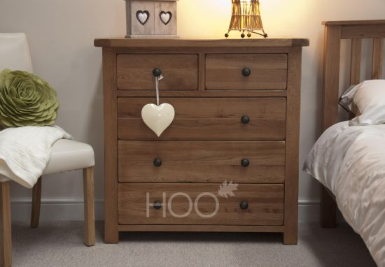 Rustic Solid Oak 2 over 3 Drawer Chest