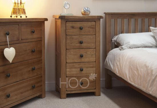 Rustic Solid Oak 5 Drawer Narrow Chest