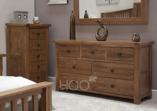 Rustic Solid Oak 7 Drawer Chest