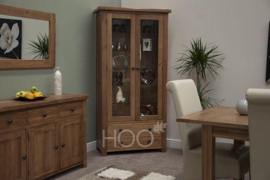 Rustic Solid Oak Glass Display Cabinet