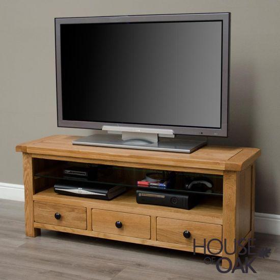 Rustic Solid Oak Plasma TV Cabinet