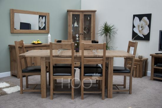 Rustic Solid Oak Extending Dining Table