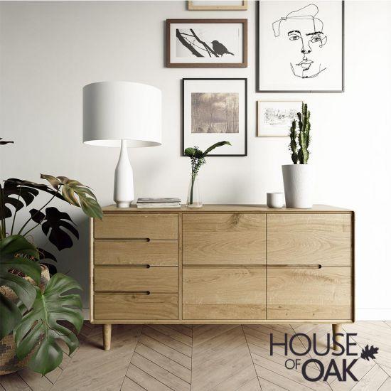 Scandic Oak Large Sideboard all Drawers