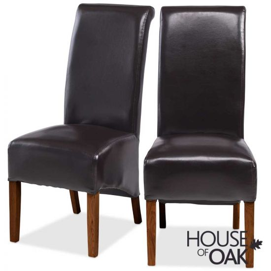 Modena Oak Pair of Bonded Leather Brown Chairs
