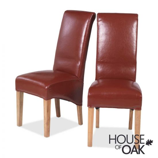 Modena Oak Pair of Bonded Leather Red Chairs