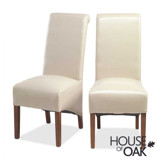 Modena Oak Pair of Bonded Leather Beige Chairs