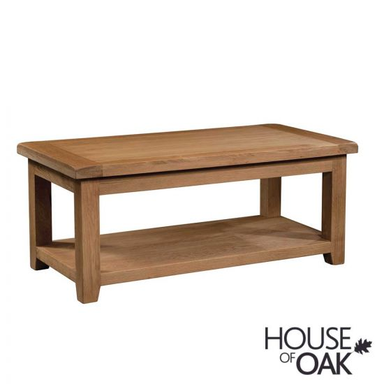 Canterbury Oak Large Rectangular Coffee Table with Shelf