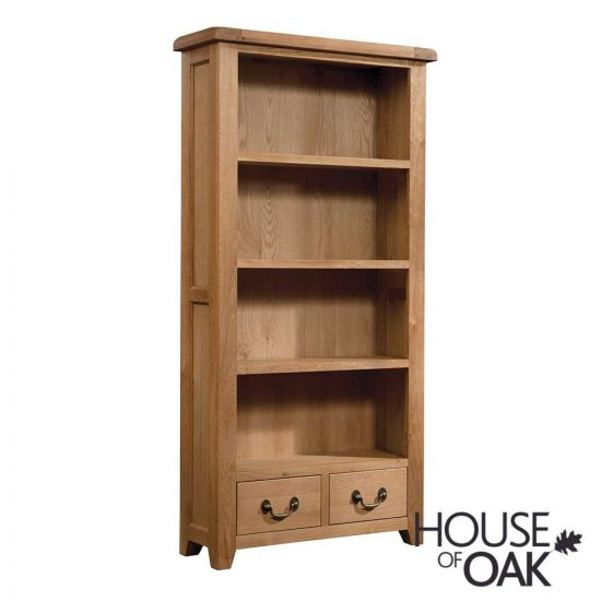 Canterbury Oak Tall Bookcase with Drawers