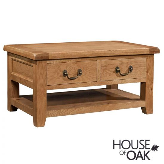 Canterbury Oak Coffee Table with 2 Full Drawers