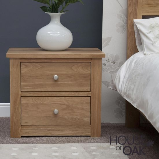 Torino Solid Oak 2 Drawer Wide Bedside Cabinet