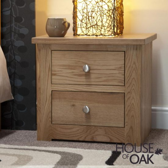Torino Solid Oak 2 Drawer Narrow Bedside Cabinet