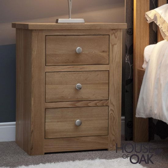Torino Solid Oak 3 Drawer Bedside Cabinet