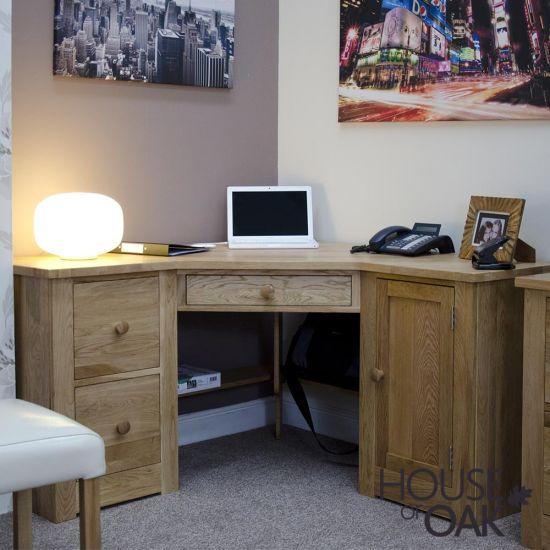 Torino Solid Oak Corner Computer Desk