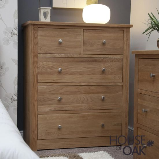 Torino Solid Oak 2 over 3 Chest of Drawers