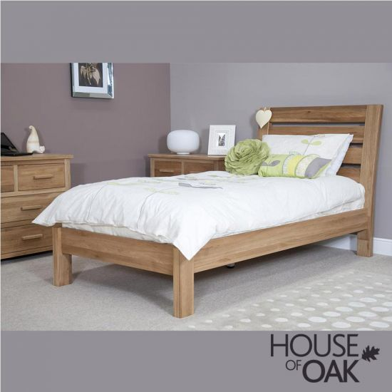 Opus Solid Oak Slatted 3FT Single Bed