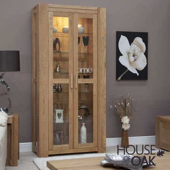 Pandora Solid Oak and Glass Display Cabinet