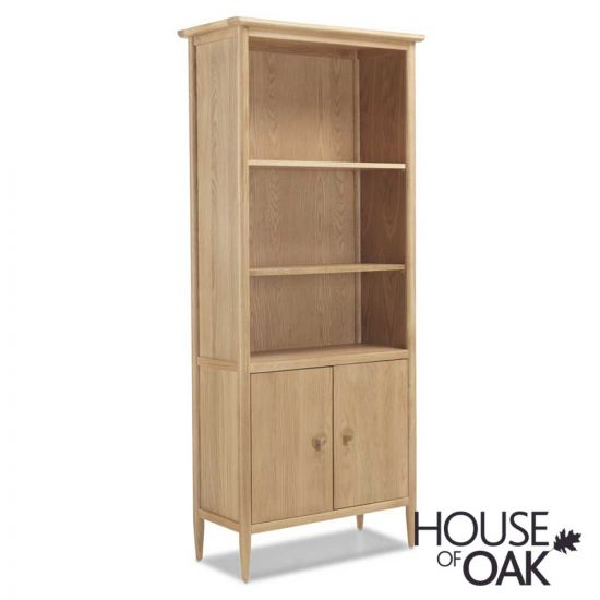 Nordic Oak Large Bookcase with Doors