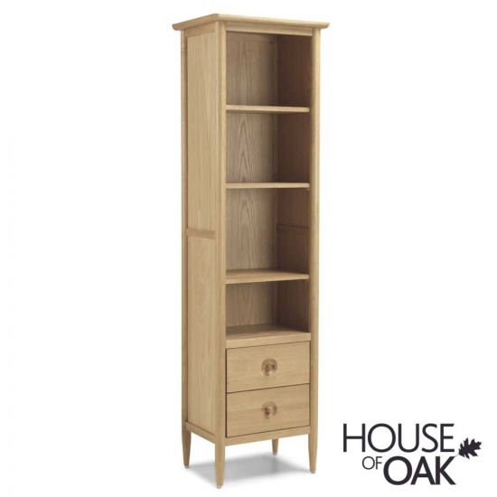 Nordic Oak Slim Bookcase with Drawers