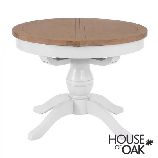Florence Oak Round Butterfly Extending Table - White Painted