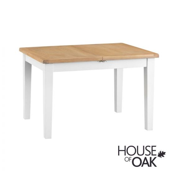 Florence Oak 1.2m Butterfly Extending Table - White Painted