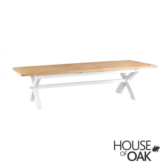 Florence Oak 2.5m Cross Extending Table - White Painted
