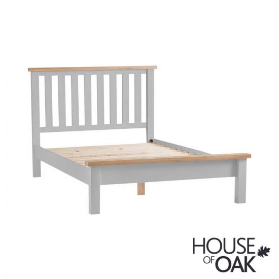 """Florence Oak 4FT 6"""" Double Bed Grey Painted"""
