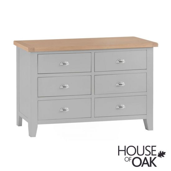 Florence Oak 6 Drawer Chest - Grey Painted