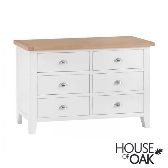 Florence Oak 6 Drawer Chest - White Painted