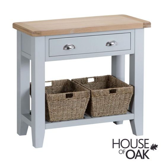 Florence Oak Console Table - Grey Painted