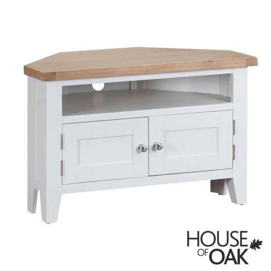 Florence Oak Corner TV Unit - White Painted