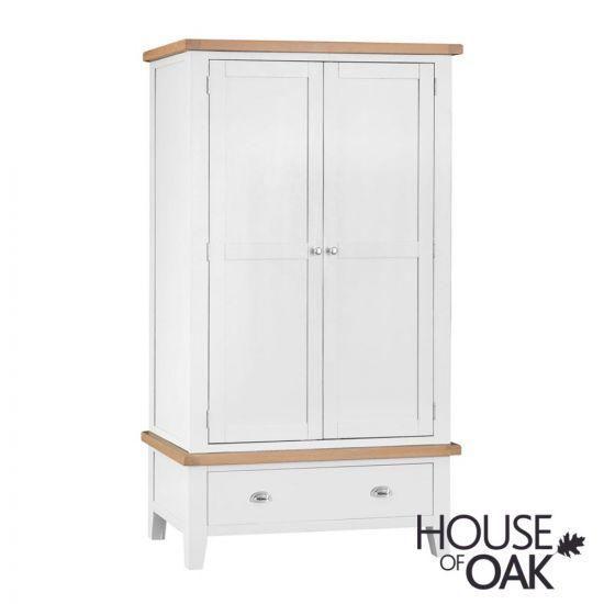 Florence Oak Large 2 Door 1 Drawer Wardrobe - White Painted