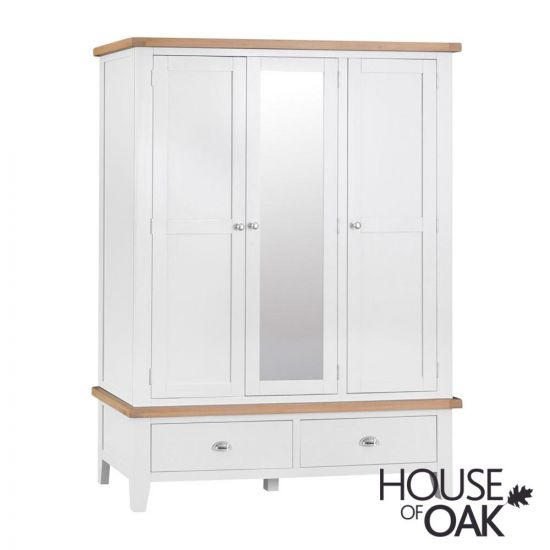 Florence Oak Large 3 Door Wardrobe With Mirror - White Painted