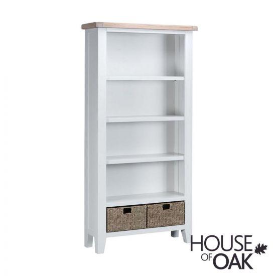 Florence Oak Large Bookcase - White Painted