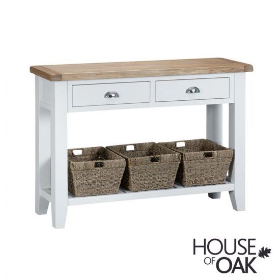 Florence Oak Large Console Table - White Painted