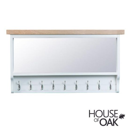 Florence Oak Large Hall Bench Top - White Painted