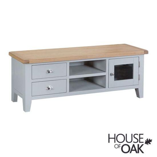 Florence Oak Large TV Unit - Grey Painted
